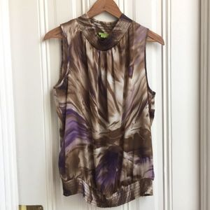 Agora Brown and Purple Marble Print Sleeveless Top